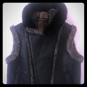 Other - Men's Shearling Vest with fox hood